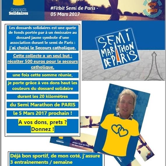 # Un don au secours catho pour que flo porte le dossard solidaire le 5 mars!